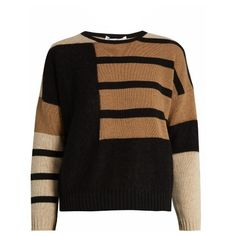 Max Mara Scire sweater ($545) ❤ liked on Polyvore featuring tops, sweaters, black tan, tan sweater, colorblock top, tan top, color block tops and color block sweater