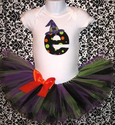 Baby Girl Halloween Witch Tutu Set...Halloween Onesie with Tutu and Mini Witch Hat...Birthday Photo Prop, Costume on Etsy, $47.00