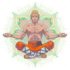 Vector Yoga Man In a Lotus Position. by vectorpocket Yoga man in a lotus position. Vector illustration made in cartoon style. Yoga Man, Yoga For Men, Lotus Position, Cartoon Styles, Brochure Design, Vector Design, Free Stock Photos, Design Inspiration