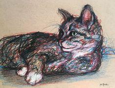Cat sketch - pet portrait pencil, pen and colored pencil on tan toned paper www.juliepfirsch.com