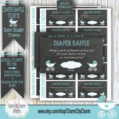 Baby Buggy Diaper Raffle Card Diaper Raffle by charmcitycharm