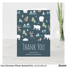 Cute Christmas Winter Animals Pattern Thank You Card Happy Birthday Jennifer, Arctic Polar Bears, Rustic Birthday, Holiday Themes, Winter Trees, Card Patterns, Woodland Creatures, Custom Greeting Cards, Thoughtful Gifts