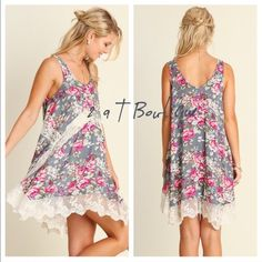 listing for @adornedbyamie  Floral trapeze dress size medium. Blue and white lace tunic size medium. 2 a T Boutique  Other