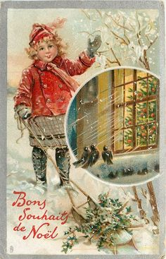 ■ Tuck DB...       girl in red waves, holly on sled below, insert of tree in window | artist: F. Brundage (unsigned)   (first used 25/11/1908)