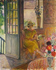 Henri Lebasque, c.1925, 'Nono in a Yellow Dress'