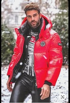 Leather Fashion, Mens Fashion, Mens Leather Pants, Bearded Men, Business Casual, Sexy Men, Black Leather, Winter Jackets, Menswear
