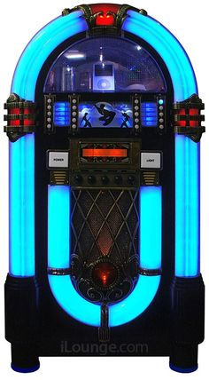 """- In April, we featured an iPod Jukebox from Wurlitzer. Now there is another vintage jukebox from Pacific Rim. """"Pacific Rim technologies has announ. Jukebox, Rock And Roll, Gramophone Record, Music Hits, Record Players, Pacific Rim, Sound Waves, Motown, Kinds Of Music"""