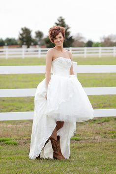 Country bridal picture with boots