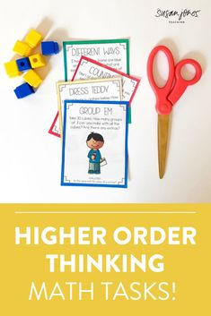 Looking for some ways to promote higher order thinking in your first and second grade classrooms?! This blog post has 3 easy-to-implement ways to help students stretch their thinking!  #firstgrademath #higherorderthinking #mathtasks #mathactivities