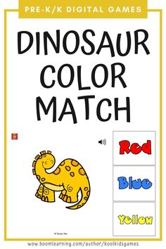 Kids will match dinosaurs to the correct colors or color words (choice of 3). Use these digital task cards as a fun math center in preschool and kindergarten. This resource is compatible with google classroom and seesaw and perfect for distance or homeschooling.  #digital #boom #task cards #math #count #number #pre-k #preschool #kindergarten #dinosaur #animal #fossil #paleontology #color #match Circle Time Games, Dinosaur Coloring, Seesaw, Preschool Kindergarten, Google Classroom, Business For Kids, Fun Math, Educational Activities, Task Cards