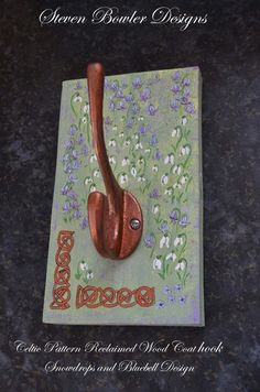 Celtic Style Rustic Reclaimed Wood Coat or Bag Hook with Snowdrops & Bluebells £21.99