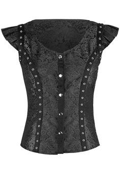 The Violet Vixen - Betty's Bell Brocade Black Top, $72.00 (http://thevioletvixen.com/clothing/bodacious-belted-brocade-black-top/)
