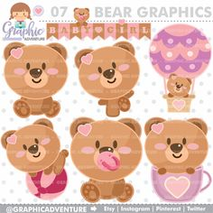 Baby Bear Clipart, Baby Bear Graphics, COMMERCIAL USE, Kawaii Clipart, Planner Accessories, Baby Bear Party, Baby Clipart, Baby Graphic