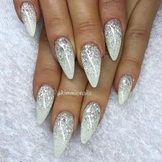 Amazing Glitter Acrylic Nail Art Designs for Holiday Parties : winter glitter nails; new year nails; Xmas Nails, New Year's Nails, Prom Nails, Holiday Nails, Wedding Nails, White And Silver Nails, White Glitter Nails, Glitter Paint, Glitter Glue