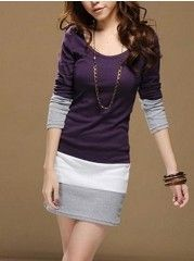 Round  Neck Long Sleeve Blended Knitted Dress