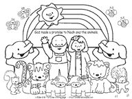 noah and the animals rainbow coloring page