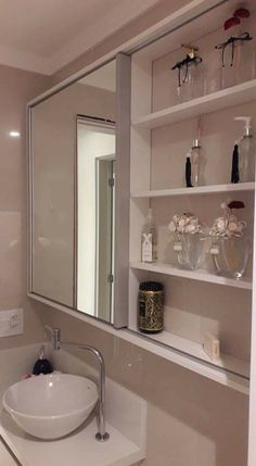 Like the idea is storage but think it'd get cluttered. Plus, if two ppl are getting ready, 1 person wouldn't have a mirror Serene Bathroom, Rustic Bathroom Decor, Bathroom Spa, Bathroom Vanity Lighting, Bathroom Interior, Modern Bathroom, Small Bathroom, Bathroom Ideas, Kitchen Sink Storage