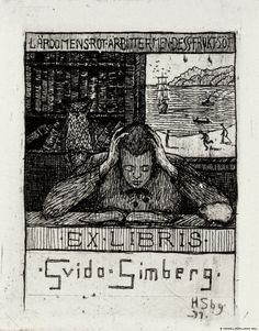 Exlibris Guido Simberg II, 1897 by Hugo Simberg on Curiator, the world's biggest collaborative art collection. Digital Museum, Metal Engraving, Unique Paintings, Collaborative Art, Almost Always, Bookbinding, Finland, Book Art, History