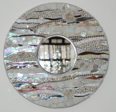 Round ocean themed mosaic mirror