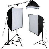 "Smith-Victor KSB-1250 Economy Softbox Three Light Kit, with 2 SBL-2436 & 1 SBL-1024 Softbox Lights, Light Stands, Mini Boom & Photoflood Lamps - 120V AC. (2) SBL-2436 Softbox Light Unit (1) SBL- 1024 Softbox Light Unit. 2- ECT 500 watt lamps 1- ECA 250 watt lamp. 3- RS8 8' Aluminum Light Stands. 1- MB110 Mini Boom (36"" - 64""). 1- Imaging with Light Guide."