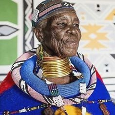 """""""Continue to appreciate the invaluable role women play as architects of our society"""". Dr Esther Mahlangu is a South African artist from the Ndebele nation. She is known for her bold large-scale contemporary paintings that reference her Ndebele heritage. South African Artists, African Tribes, Christian Dior, Portraits, African Culture, People Of The World, Black Is Beautiful, Black Girl Magic, Traditional Art"""