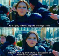 Katniss did the right thing to kill Coin & plus Snow died too. I think Commander Paylor is a good president. If Paylor did not make Katniss talk to Snow who knows what would happen to Panem. Hunger Games Book Series, Hunger Games Movies, Hunger Games Mockingjay, Mockingjay Part 2, Hunger Games Trilogy, Suzanne Collins, Jennifer Lawrence Hunger Games, New Emojis, I Volunteer As Tribute