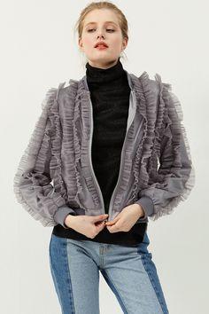 Christine Ruffle Jacket .Discover the latest fashion trends online at storets.com #rufflejacket #glayjacket #jacket