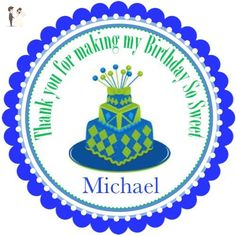 """40 Round Labels 2"""" Personalized Birthday Cake Stickers, Custom Hangtags, Party Favors Labels, Cupcake Toppers, Feliz Cumpleanos Choice Of Size - Cake and cupcake toppers (*Amazon Partner-Link)"""