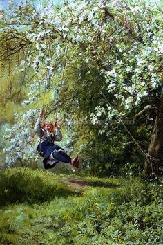 Young Girl On A Swing ~ Frank William Warwick Topham ~ (English 1838 – 1924):