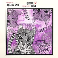 * Rubber Dance Blog *: Greeting card with entangled cat stamp