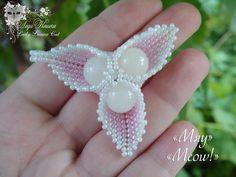 "Pendant of beads ""Meow"" by Lady Lunar Cat. Japanese seed beads. 5.5 cm by 5.5 cm. Price $ 5 Подвеска из бисера ""Мяу"" от Леди Кошки . Японский бисер. 5,5 см на 5,5 см. Цена 5$ beads, peyote,  beadwork, handmade, Lady Lunar Cat, white, pink, pendant"