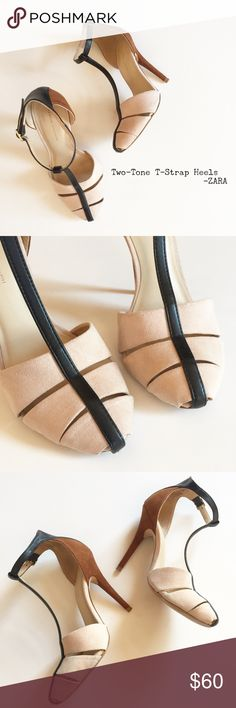 """Two-Tone T-Strap Heels in Whiskey by ZARA FAVES but I've gotta lighten up my shoe hoarding! Lovingly worn but in great condition! These are Zara size 36/6 but I'm a 6.5 and can wear these, I've got a narrower foot. Faux suede in blush and tobacco with black faux leather t-strap. Nick on back of left heel, minor signs of wear - see all pics. Approx. 9.25"""" insole, 4"""" heel. Clorox-wiped and ready to flaunt! No box. Zara Shoes Heels"""