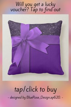Sparkly Purple Ribbon Throw Pillow - tap/click to personalize and buy #holiday #decor, #glitter, #festive, #christmas Accent Pillows, Throw Pillows, Purple Ribbon, Christmas Ribbon, Purple Backgrounds, Home Reno, Artwork Design, Custom Pillows, Festive