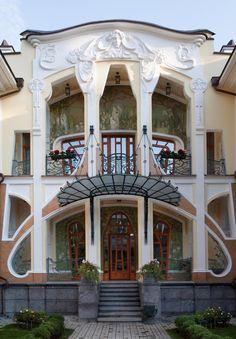Art Nouveau facade, near the River Volga, Moscow, Russia. Surprisingly built in 2009.