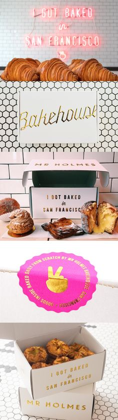 Mr Holmes Bakehouse Packaging Design - My favorite, freaking, branding in the world. I'm obsessed and I need to visit this bakery! Bakery Branding, Bakery Packaging, Food Branding, Restaurant Branding, Brand Packaging, Packaging Design, Branding Design, Bakery Puns, Restaurant Restaurant