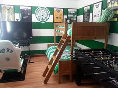 Superieur Green And White Hoops Painted On The Wall Of This Celtic Themed Room.  Classic Strips From A Range Of Seasons Fill The Walls And There Are Celtic  ...