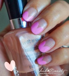 Pink Heart French Nails #FragranceNet