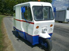 """By Scotty Gilbertson""""Neither snow nor rain nor heat nor gloom of night stays these couriers from the swift completion of their appointed rounds"""", or so the myth goes; there is no official motto for the USPS. Vintage Trucks, Old Trucks, Microcar, Best Barns, Panel Truck, Motor Scooters, 3rd Wheel, Mini Bike, Small Cars"""