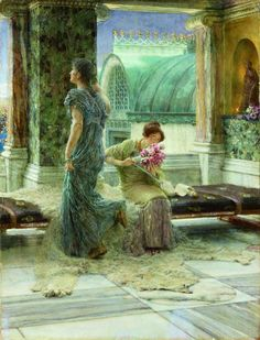 """Lawrence Alma-Tadema """"Love's Missile"""", 1909 (The Netherlands / Great Britain, Romanticism, 20th cent.)"""