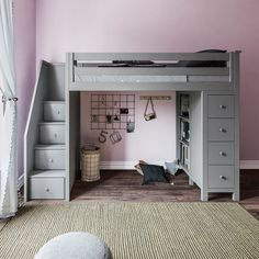 Ayres Twin Loft Bed with Drawers and Shelves Harriet Bee Ayres Twin Wood Loft Bed with Staircase & R Bunk Bed With Desk, Bed With Drawers, Desk Bed, Bunk Beds With Stairs, Modern Bedroom, Bedroom Decor, Contemporary Bedroom, Master Bedroom, Master Suite