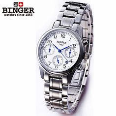 Cheap wristwatch men, Buy Quality steel spring directly from China steel shaft Suppliers: Luxury Brand  Binger new style watch round stainless steel fashion wristwatch for women automatic self watches tourbillon 1853