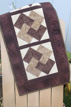 Table Runner Fall Card Trick Brown Cream and Gold by MeandMomQuilt, $45.00