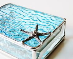 RESERVED for TONYA Stained Glass Box Aquamarine Sky Blue 3x4 w/ large Starfish Beach Wedding Ocean Inspired Hand-crafted