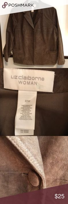 Liz Claiborne olive green jacket 22W Looks and feels just like supple suede, but is washable. Liz Claiborne Jackets & Coats Blazers