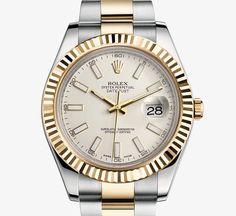 Rolex Datejust II White Index Dial Gold Fluted Bezel Oyster Bracelet.