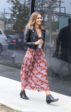 Cropped leather jacket, floral maxi, booties