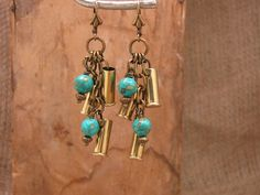 3bf73ef7d6392 Bullet Casing Jewelry - Triple 22 Caliber Brass Bullet Casings with  Turquoise Leverback Dangle Earrings Bullet