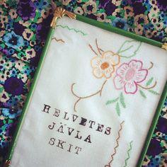 Embroidery + stencil (from harmaata.blogspot.fi)