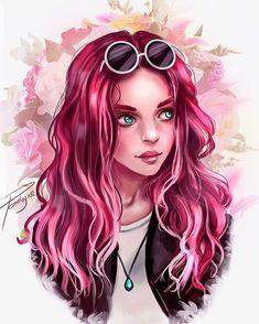Girl Drawing Sketches, Cute Girl Drawing, Girly Drawings, Cartoon Girl Drawing, Cool Art Drawings, Anker Tattoo Frau, Cute Cartoon Girl, Digital Art Girl, Cartoon Art Styles