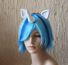 Vinyl Scratch DJ Pon3 costume cosplay wig  blue streak by GimmCat, $150.00